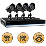 SVAT BlueLine 4 Channel x 4 Camera Ultra Hi-Res DIY Security System with Real-Time Smartphone Viewing, 500GB Hard Drive & 75ft Night Vision