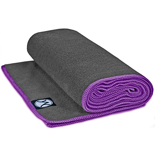 Youphoria Yoga Towel – Microfiber Bikram Hot Yoga Mat Towels – Improve Your Grip – Non Slip, Skidless If Dampened – 100% Satisfaction Guarantee! (Gray Towel/Purple Stitching, 24″ x 72″)