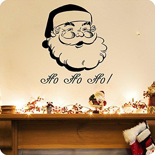 Santa Clause-on Sale Ho Ho Ho Merry Christmas Vinyl Wall Decal (17x18, auburn) Auburn Santa