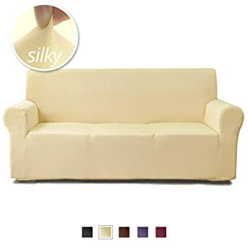 NICEEC Oversize Large Sofa Cover Silky Soft 1-Piece Light Yellow Slipcover  for Long Sofa Strechable Universal Couch Cover Easy Fit Washable Duration  ...
