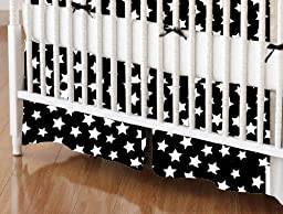 SheetWorld - MINI Crib Skirt (24 x 39) - Primary Stars White On Black Woven - Made In USA