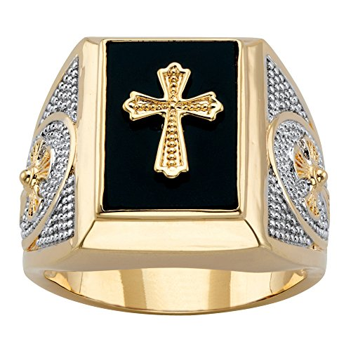 en's 14K Yellow Gold-Plated Natural Black Onyx Textured Cross Ring Size 11 ()