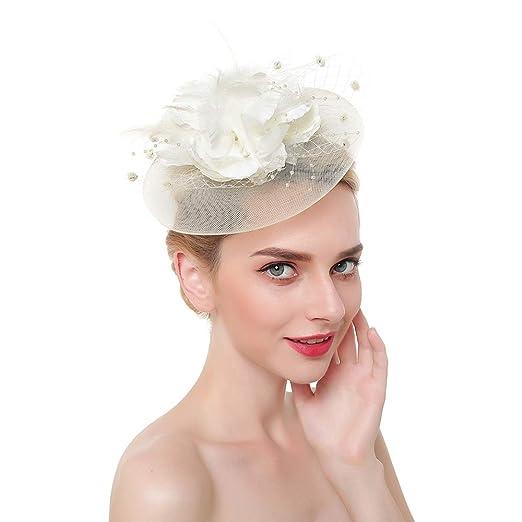 06036d1d68f250 Fascinator Top Hats Flower Cocktail Hair Clip Mesh Net Feather Headwear for  Women Girls Brides Tea