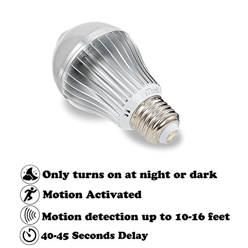 Motion Sensor Light Bulb, Upgrade IThird E26 5W LED PIR