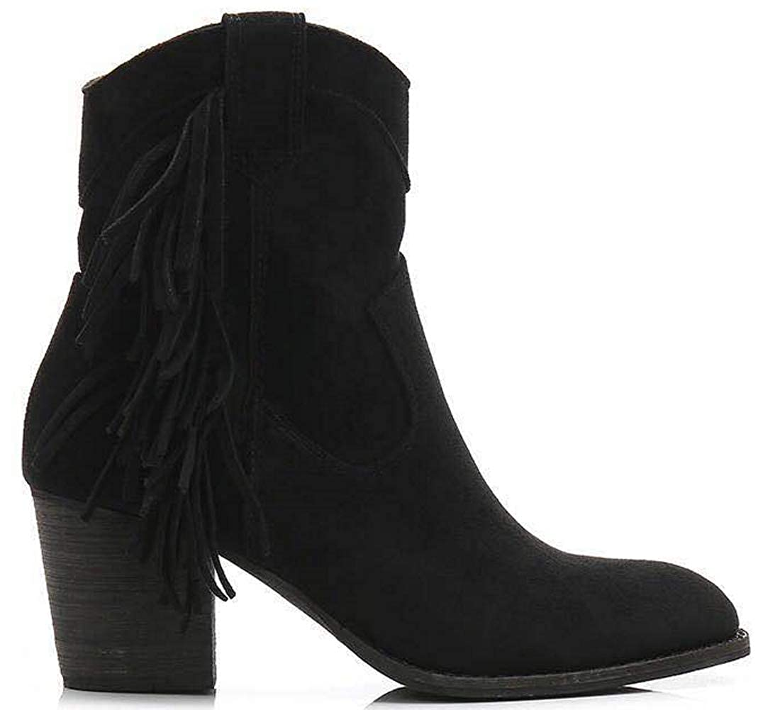 84dedfc7d Amazon.com | Beast Fashion Ivanna-02 Fringe Block Heel Western Ankle Boots  with Pull-Up Tabs | Ankle & Bootie