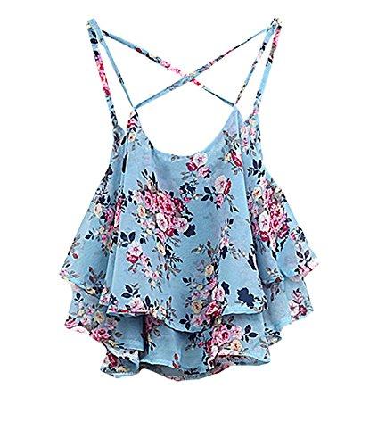 Shawhuaa Womens Flowy Vintage Floral Print Chiffon Shirt Vest Strap Top