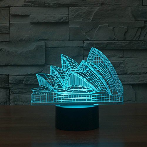 (Tons 3D Night Light Colorful Touch Control Light 7 Colors Change USB LED for Desk Table with Multicolored USB Powered Home Decoration Best Gift for Kids (Sydney Opera House))