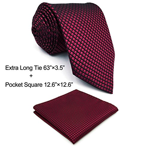 Shlax & Wing Extra Long Size Wedding Necktie Solid Color Red Crimson Mens Tie (Crimson Necktie)