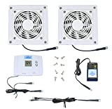 2-Zone AV Cabinet Multispeed Cooling Fans with Digital Thermostat (White Model)
