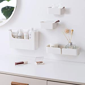 poeland Floating Shelf Wall Mounted Non-Drilling Adhesive Bathroom Organizer Ledge Shelf for Home Decor/Kitchen/Bathroom Storage