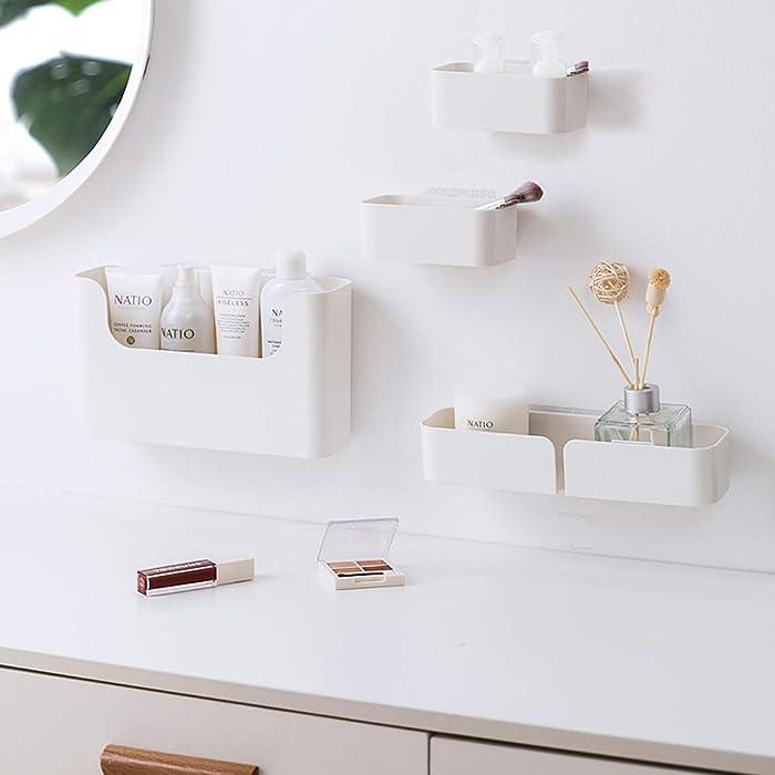 poeland Floating Shelf Wall Mounted Non-Drilling Adhesive Bathroom Organizer Ledge Shelf for Home Decor/Kitchen/Bathroom Storage