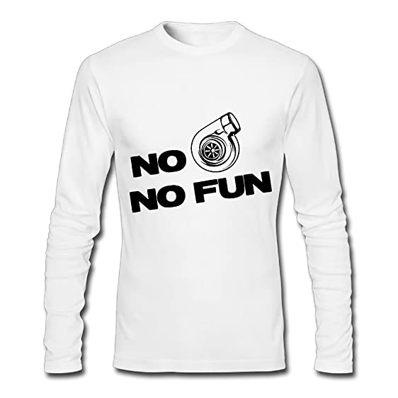 Lenajty No Turbo No Fun Mens Crew Neck Long Sleeve T Shirts Graphic Tees