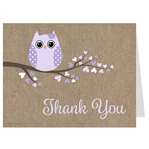 Owl Baby Shower, Thank You Cards, Burlap, Rustic, Purple, Girls, Cottage Chic, 50 Folding Notes with Envelopes, (Purple)