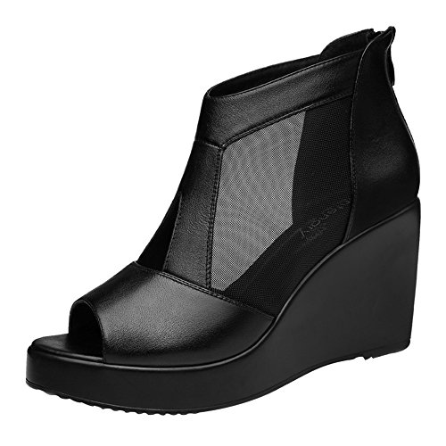 Passionow Women's British Style Peep-Toe Zipper Breathable Mesh Leather Wedge Sandals