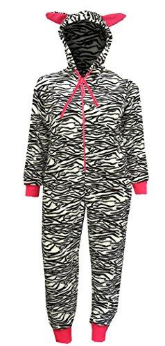 White Zebra Snap (Zebra Print Plush Black And White One Piece Hooded Pajama for women (Large))