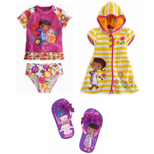 Disney Store Doc McStuffins Rash Guard Swimsuit, Cover Up & Flip-Flops Size XS 4