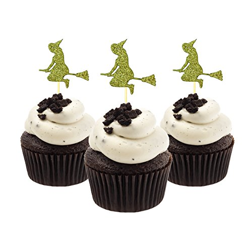 Flying Witch Halloween Cupcake Topper 12 pieces per Pack Decoration Cake glitter Card Stock Gold