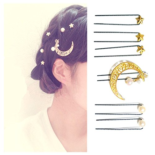 QTMY 6 PCS Metal Star Moon Pearl Hairpin Hair Clips Hair Acc