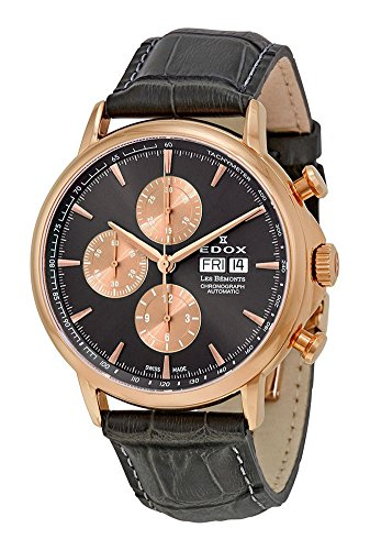 Edox Men's 'Les Bémonts' Swiss Automatic Stainless Steel and Leather Dress Watch, Color:Grey (Model: 01002 3M NIN)