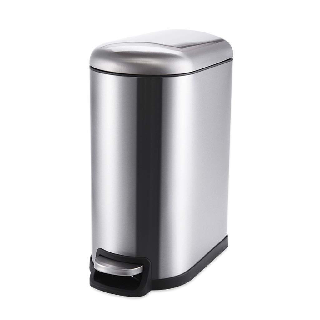 ゴミ箱ホームリビングルームベッドルームキッチンオフィス浴室付き蓋ステンレススチールペダルタイプゴミ箱家庭用収納バケット (Color : Silver) B07TBS5PB5 Silver