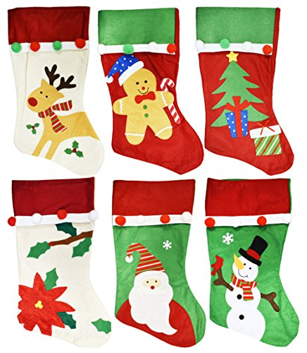 Set of 6 Christmas Holiday Theme Embroidered Felt Stockings - Pompoms - 18