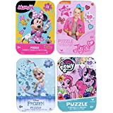 4 Collectible Puzzles Tins for Girls Ages 5+ 6+ Bundle of 4 Puzzles - Frozen Elsa, Minnie Mouse, JoJo Siwa, and My Little Pony Gift Set