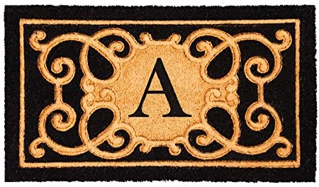 Evergreen Flag 2RM356A Debossed Monogram Coir Mat, Letter A A, Multi-Colored
