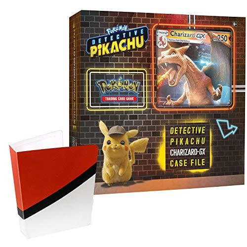 Pokemon TCG: Detective Pikachu Charizard-Gx Case File + 6 Booster Pack + A Foil Promo Card + A Foil Oversize Card + 1 Pokeball Themed Mini Binder