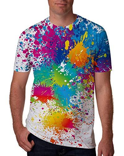Goodstoworld Men's Cool Graphic Tees Tie Dye Paint Male Gay Guy Designer Shirts Colorful Graffiti Art 80s 3D Print Women Teen Boys Beach Holiday Tee Shirt Tops Couple Matching Outfits Medium