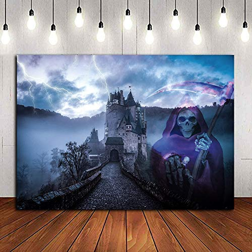 Photography Backdrop Realistic Scene Halloween Horror Nights Death Skeleton Party Decoration Vinyl 9x6ft Hallowmas Fright Nights Castle Home Supplies Photo Booth Studio Props Party Banner