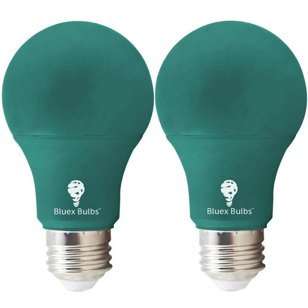 2 Pack BlueX LED A19 Green Light Bulb - 6W (50Watt Equivalent) - Dimmable - E26 Base LED Green Lights, Party Decoration, Porch, Home Lighting, Holiday Lighting, Decorative Illumination Green Bulb