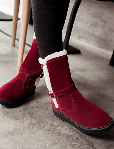 Boots Shoes Heel Round Ladies red Wedge Citior Fleece Toe Boots Booties Womens Fashion Casual Booties nx0wp7v