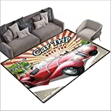 Outdoor Kitchen Room Floor Mat Cars,Classical American Car in a Street with Ancient Houses Caribbeans Havana Cuba,Orange Sand Brown 64'x 96',Bath Rugs for Bathroom