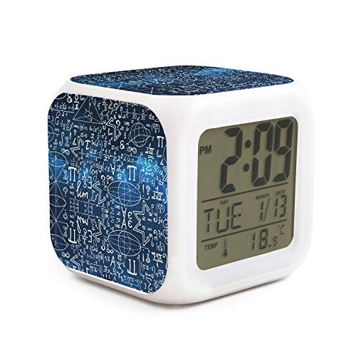 JWOJJUAW Wake Up Blue Galaxy Mathematical Signs Formula Dimmer Snooze LED Nightlight Bedroom Desk Travel Digital Alarm Clock Battery Operated for Kids Girls