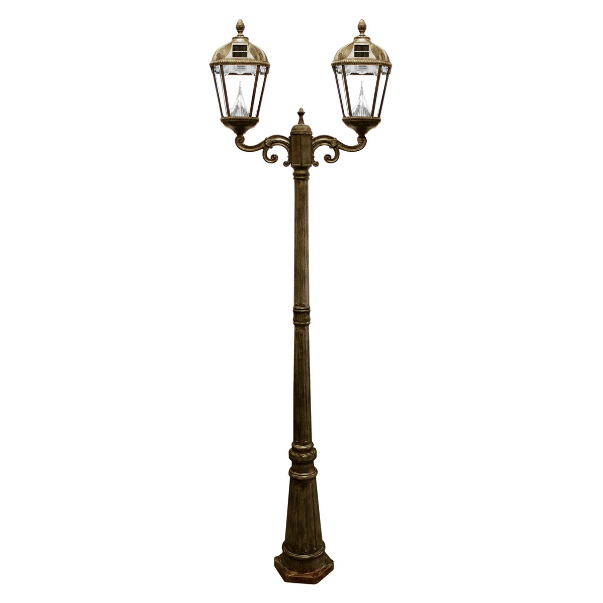 Gama Sonic Royal Solar Lamp Post and Double Lamp LED Light Fixture, 89-Inch Height, Weathered Bronze Finish #GS-98D by Gama Sonic