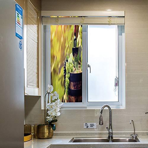 YOLIYANA Frosted Glass Window Film No Glue Privacy Window Cling 3D Wine Glass Stickers for Bathroom 24
