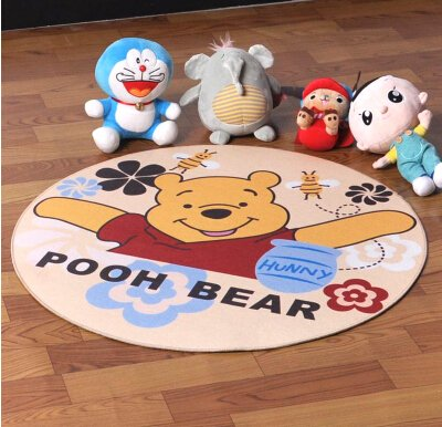 Pooh Bear Roung Shaped Cartoon Mats Cover Non-Slip Machine Washable Outdoor Indoor Bathroom Kitchen Decor Rug ,