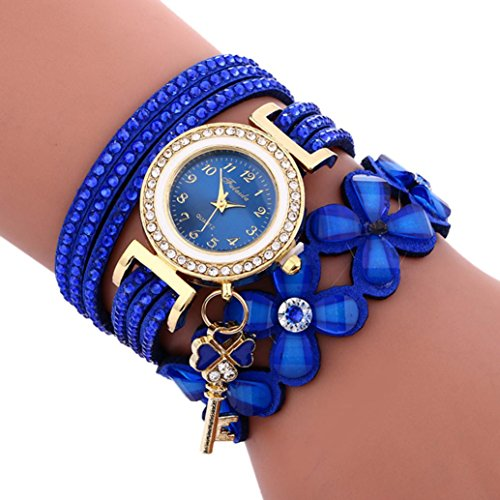 IEason,Fashion Chimes Diamond Leather Bracelet Lady Womans Wrist Watch (Blue)