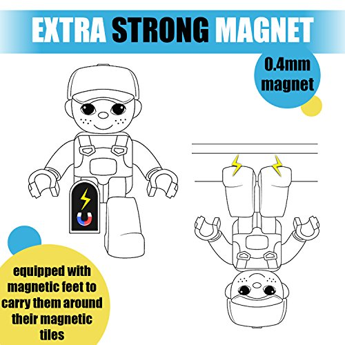 Magnetic Figures Set of 4 – Community Toy People Magnetic Tiles Expansion Pack for Boys and Girls – Pilot, Teacher, Lawyer, Coach Educational STEM Toys Add on Sets for Magnetic Blocks by Pythagoras Magnets (Image #5)