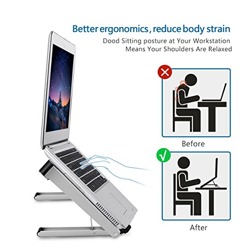 Aoafun Laptop Stand,Foldable Portable Ventilated,Holder with Lightweight&Space-Saving Design,Adjustable Ergonomic Laptop Cooling Stand Holder Aluminum N in 1(Silver) by Aoafun (Image #3)