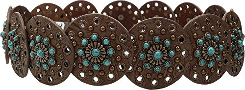 Nocona Ladies Brown Belt (Nocona Women's Wide Disk Conchos Floral Belt Brown)