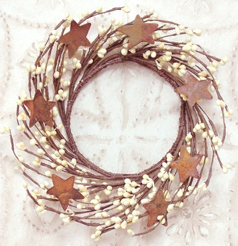 Wreath - 4'' Vanilla/Ivory Pip Berry and Rusty Star Wreath - Primitive Country Rustic Twig Decor