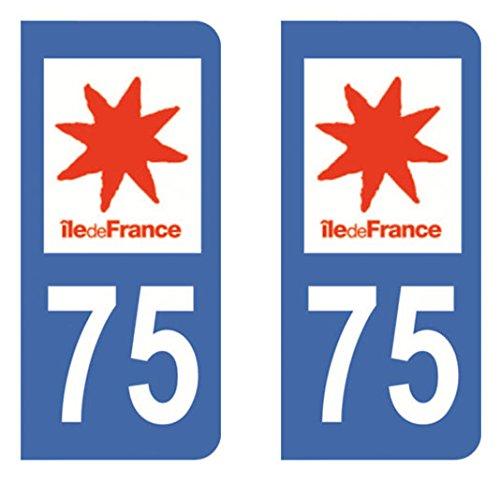 Paire Sticker immatriculation 75 - Paris Autocollant-immatriculation
