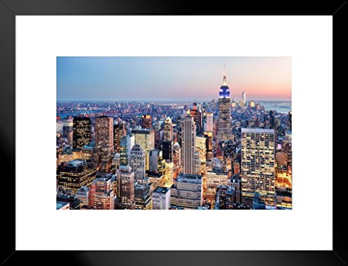 e State Building New York City NYC Skyline Photo Art Print Matted Framed Wall Art 26x20 inch ()