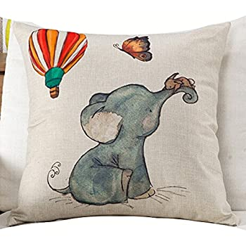 Cotton Linen Square Decorative Throw Pillow Case Cushion Cover Watercolor Elephant Baby Hot Air Balloon Yellow Little Mouse Christmas Gift 18