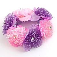 Uxcell Faux Rhinestone Flower Detail Elastic Ponytail Holder, Pink Purple, 0.02 Pound