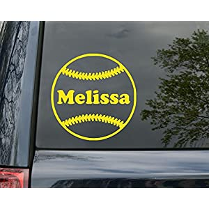 Minglewood Trading Softball Vinyl Decal Sticker with Custom Personalized Name 5″ x 5″