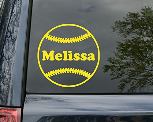 (Minglewood Trading Softball Vinyl Decal Sticker with Custom Personalized Name 5
