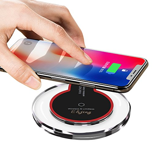 Wireless Charger QI, EJING Wireless Charging Pad for Apple iPhone 8/8 Plus, iPhone X, Samsung Note 8, S8/S8 Plus/S7/S7 Edge/S6, Nexus 7/6/5/4(2013), Nokia Lumia 920, LG Optimus Vu2, Wireless Charger