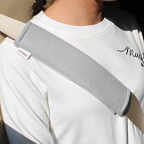 GAMPRO Car Seat Belt Pad Cover, 2-Pack Soft Car Safety Seat Belt Strap Shoulder Pad for Adults and Children, Suitable for Car Seat Belt, Backpack, Shoulder Bag(Gray)
